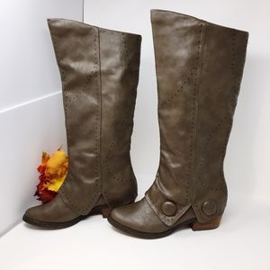 Not Rated Perforated Brown Riding Boots Sz 7